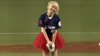 【プロ野球パ】Dream Amiさんが始球式  見事な投球を披露! 2015/07/03 L-M thumbnail