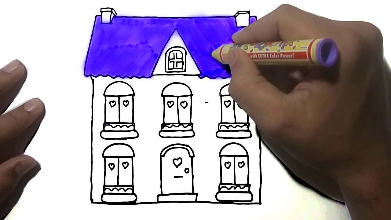 How To Draw Dollhouse Coloring Page For Kids Drawing And Learning