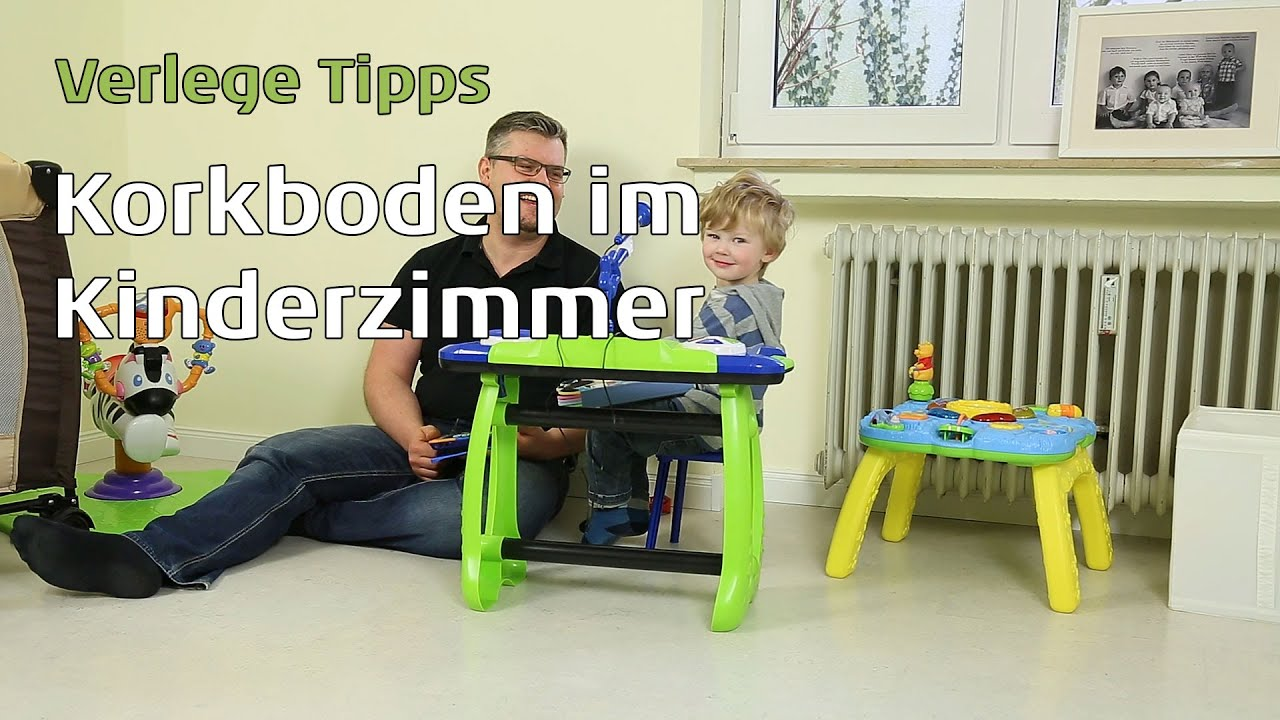 korkboden verlegen im kinderzimmer youtube. Black Bedroom Furniture Sets. Home Design Ideas