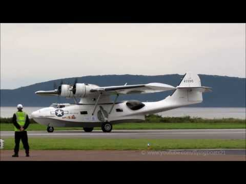 PBY5a Catalina lands and taxies at Oban Airport, North Connel, 23rd August 2013