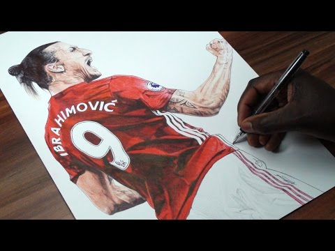 Zlatan Ibrahimovic Pen Drawing - Manchester United - DeMoose Art