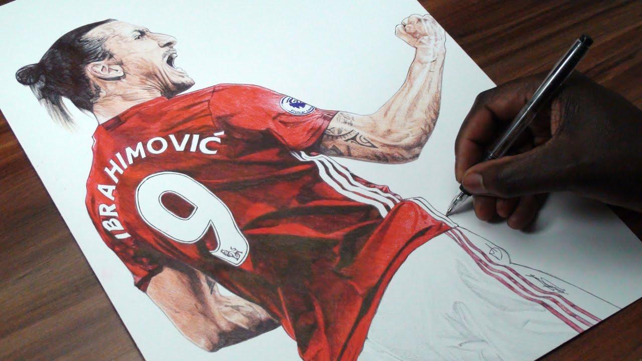 Manchester United Logo Wallpaper 3d Zlatan Ibrahimovic Pen Drawing Manchester United