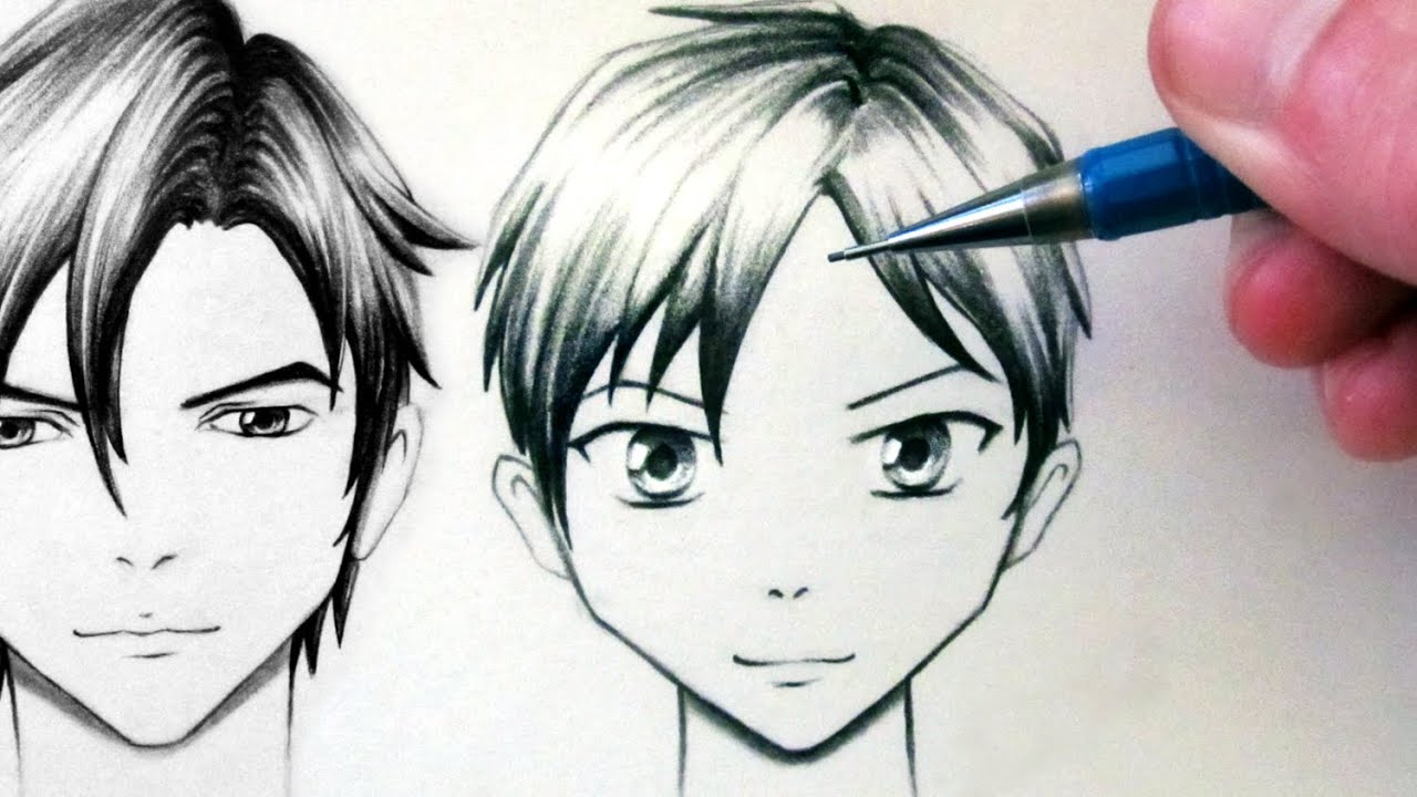 How to draw a manga face front view male