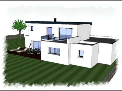Arteco101 maison toit plat zinc bretagne youtube for Maison moderne zinc