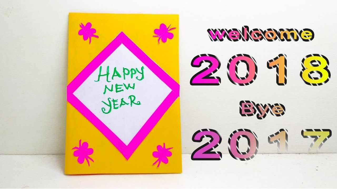 how to make happy new year card handmade greeting card for new year 2018 linas craft club