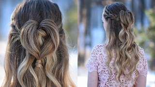 Half Up Heart Bun | Valentine's Day Hairstyle | Cute Girls Hairstyles