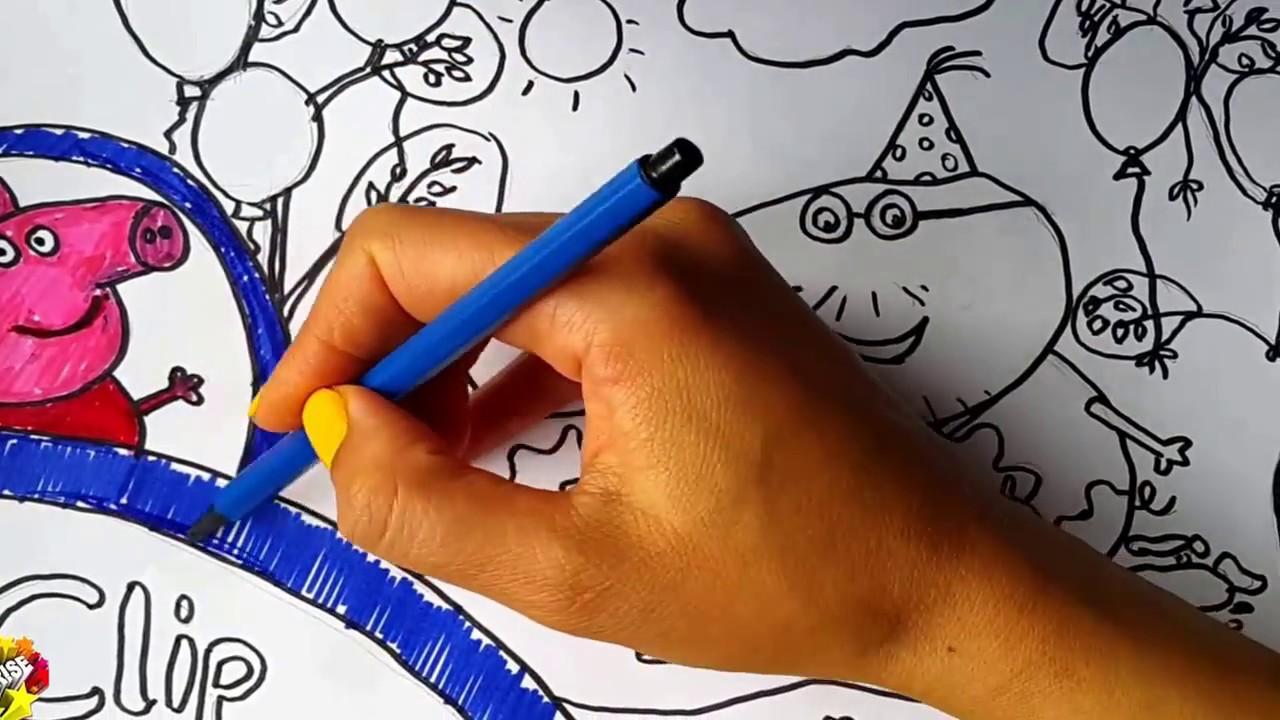 Peppa Pig Boyama Peppa Pig Doğum Günü Kutlaması Keçeli Kalem