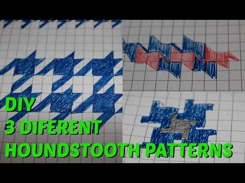 How To Draw 3 HOUNDSTOOTH Patterns