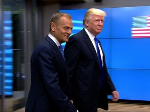 Raw: Trump Arrives at European Union HQ