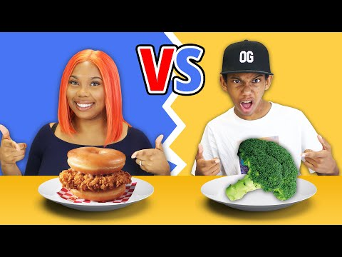 EATING ONLY JUNK FOOD VS HEALTHY FOOD CHALLENGE!