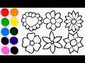 Dibujos Para Niños - Coloreando y Dibujando Flores de Colores - Learn Colors / FunKeep