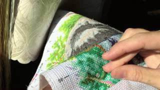 Вышивка крестиком   Мой метод вышивки на канве с нанесённым рисунком обеими руками!