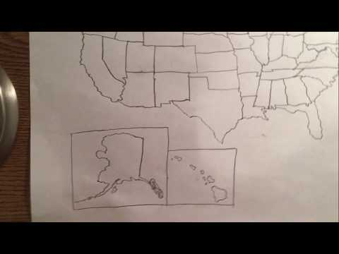 Drawing a United States Map ASMR