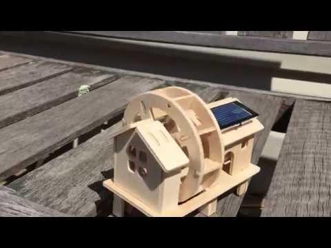Sunnytech Solar Power Energy DIY Kits Wood Windmill 3D Wooden Jigsaw Puzzle Toy (W150)