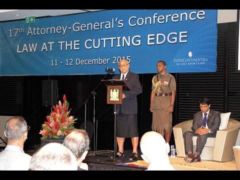 Fijian President HE Jioji Konrote opens Attorney General's Conference 2015.