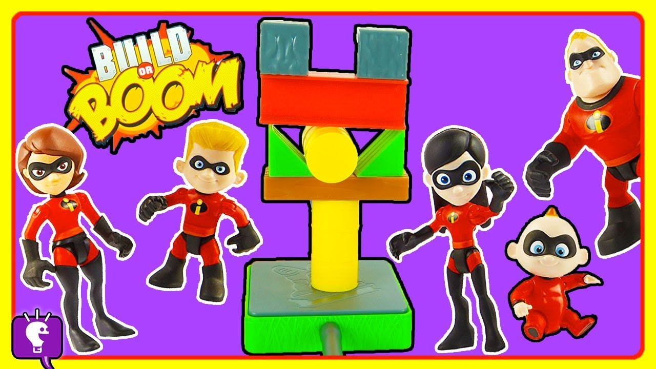 The Incredibles Toys Play: Build or Boom Game by HobbyKidsTV