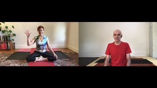 2. Andrew Kelly guides Angela Lane in a brief yoga sequence