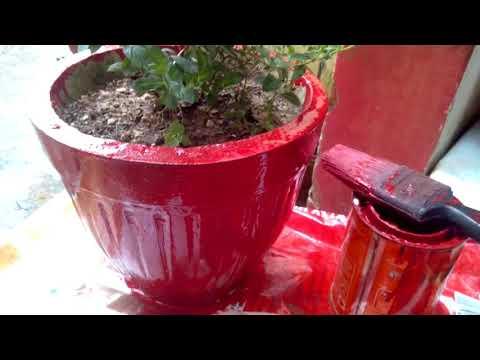 How to colour Pot // Gamla from  durable enamel paint/अधिक दिनों तक चमकनेवाले रंगो से गमले कोे रंगे।