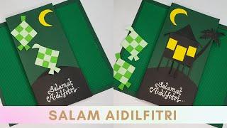 Kad Raya Kreatif How To Make Hari Raya Card Card For Eid Mubarak Selamat Hari Raya Aidilfitri Youtube