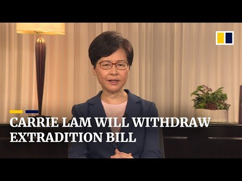 Hong Kong leader Carrie Lam withdraws extradition bill