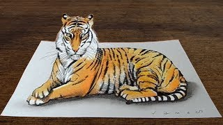 Awesome Tiger - Drawing 3D Tiger Illusion on Paper - VamosART
