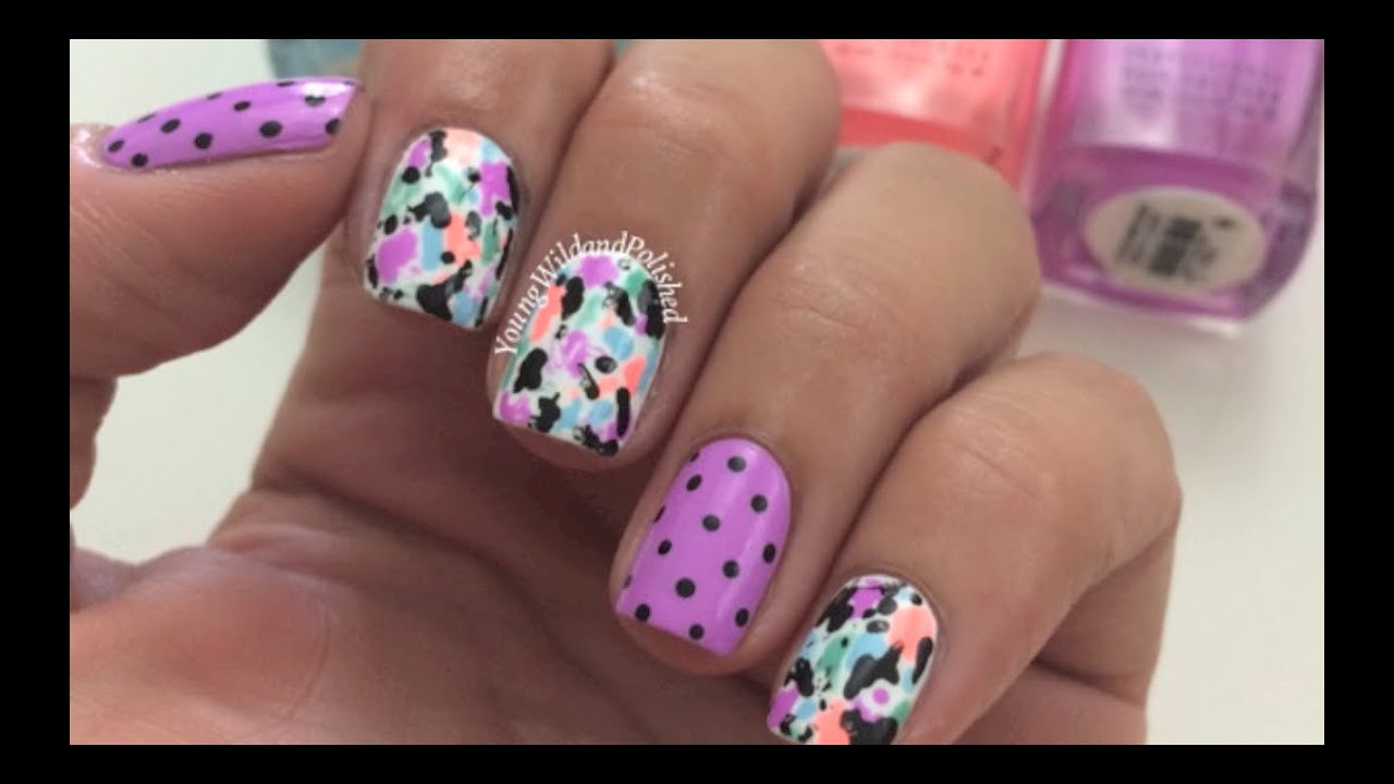 Easy Nail Art-Free Hand Splatter Tutorial - YouTube