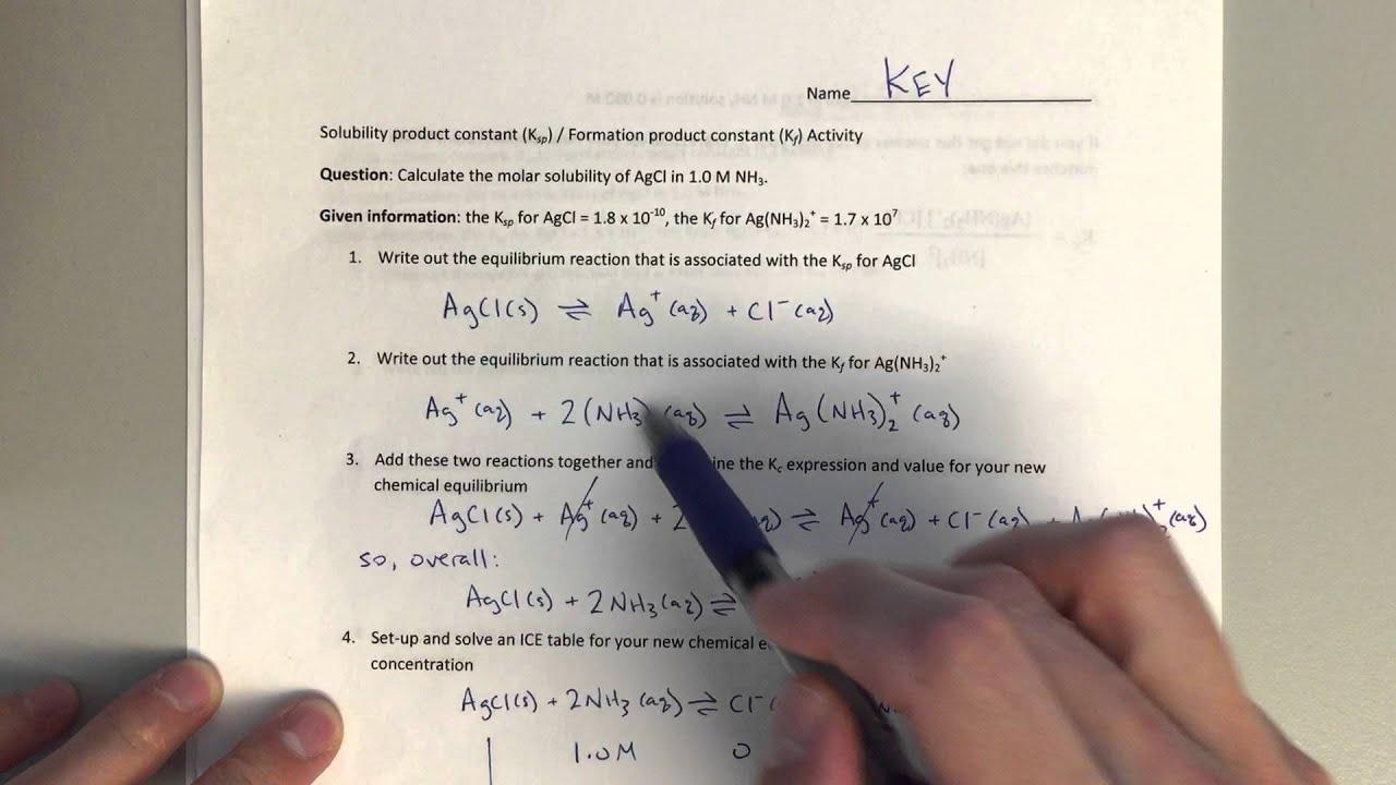 Chem 123 - Ksp/Kf Worksheet Explanation - YouTube