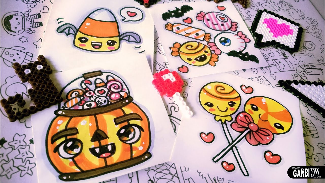 Halloween Drawings - How To Draw Kawaii Candies by Garbi ...