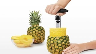 Steel Ratcheting Pineapple Slicer with Depth Guide