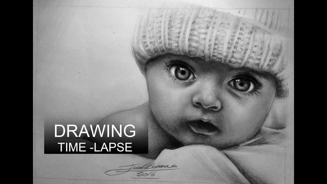 Drawing time lapse Retrato realista de bebe a lapiz how to draw