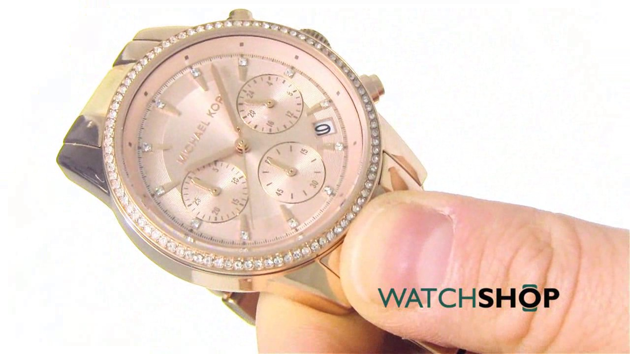 ee14627f3a50 Michael Kors Ladies  Ritz Chronograph Watch (MK6493) - YouTube