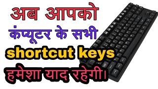 computer table of keyboard shortcuts and
