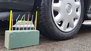 Crushing Crunchy & Soft Things by Car!Floral Foam,Sugar and more! - satisfying video car crushing