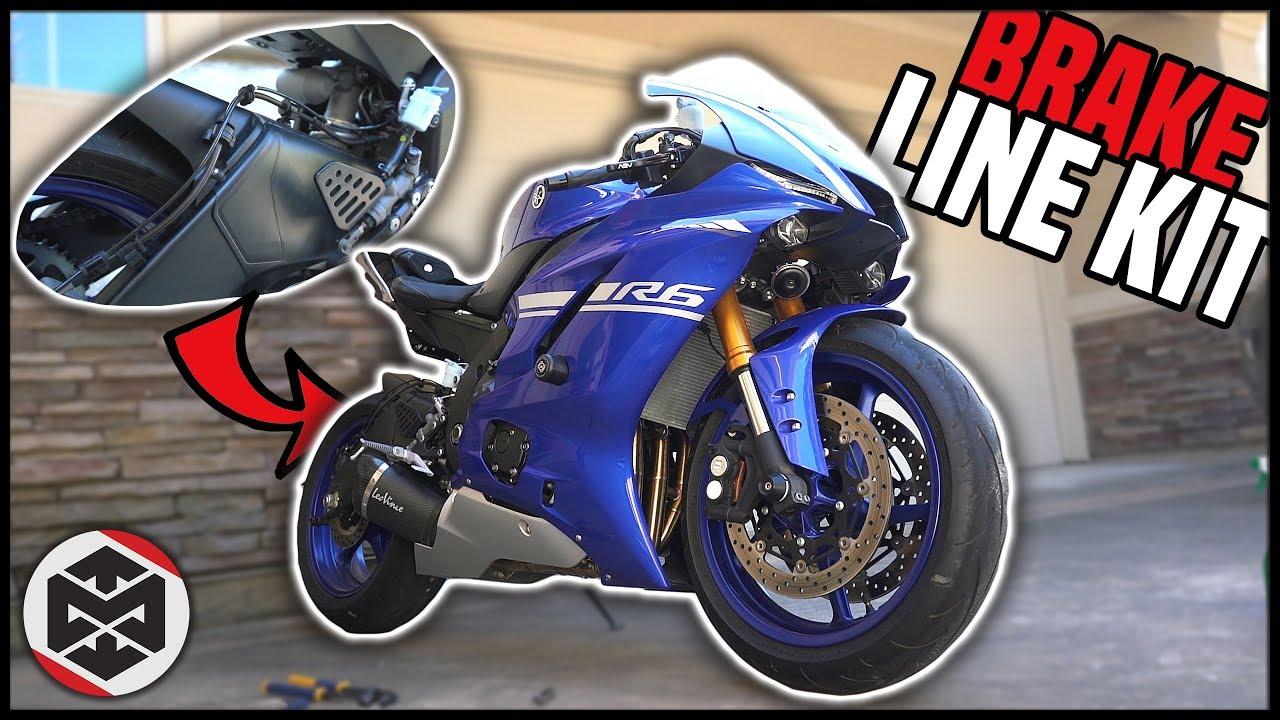 Stainless Steel Braided Brake Line Kit 2015 Yamaha YZF-R1 Street Motorcycle