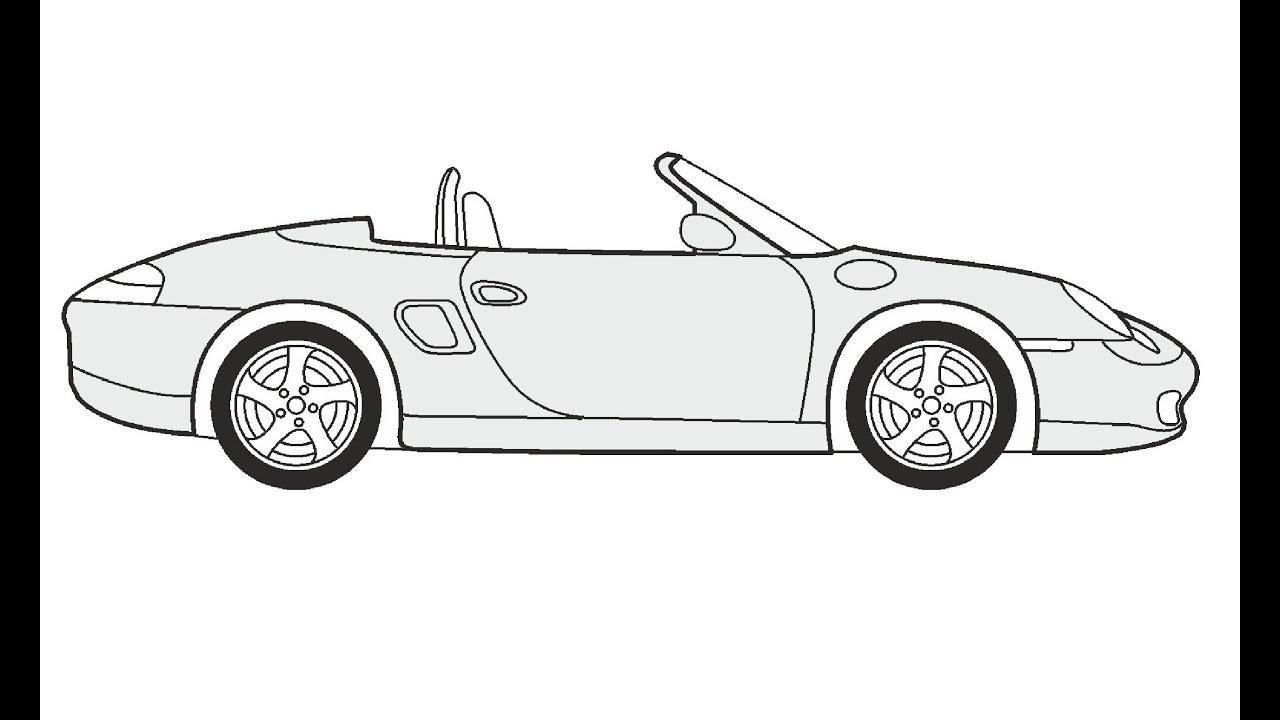 How to Draw a Porsche Boxster / Как нарисовать Porsche