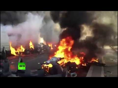 Fire Injuries & Tear Gas; Yellow Vest Protesters Clash With Police Around Bastille Place
