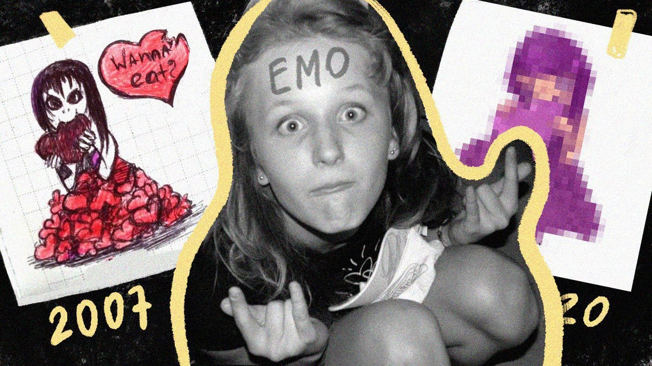 Перерисовываю ЭМО-иллюстрацию из детства
