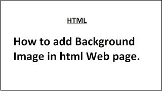How to add Background image in html & CSS web page
