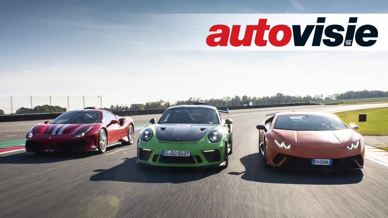 Dragrace Ferrari Vs Lamborghini Vs Porsche Autovisie Supertest 2018 Youtube