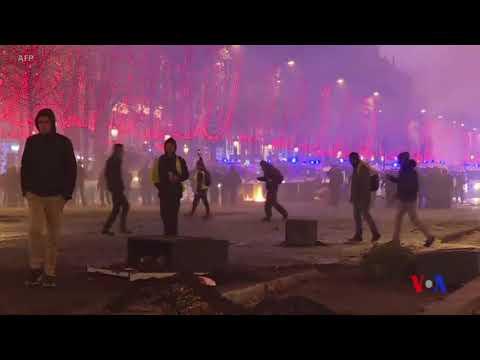 法國的抗議汽油加稅群眾與警察衝突 (粵語)
