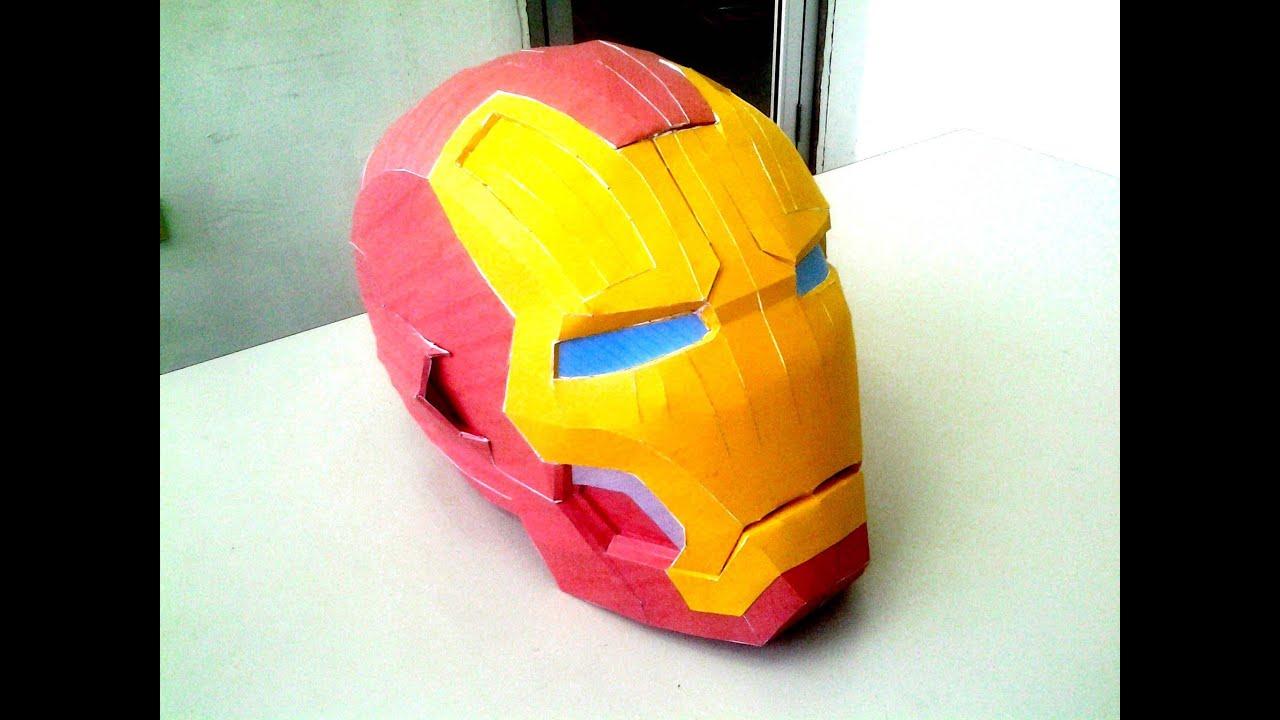 Diy Pepakura Papercraft Iron Man Mark 42 Helmet Time Lapse Youtube