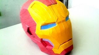 Diy Pepakura ( papercraft ) IRON MAN mark 42 helmet time lapse