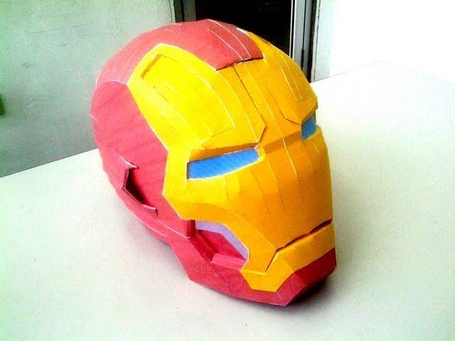 Diy Pepakura ( papercraft ) IRON MAN mark 42 helmet time lapse