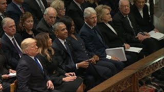 Live: Five presidents come together for funeral of George HW Bush