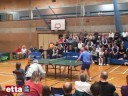 John Hilton challenging young girl at Table Tennis