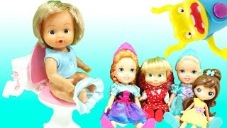 Baby Dolls Peeing and Pooping on a Toilet Toy - Potty Training Mommy Barbie Masha Minions Frozen