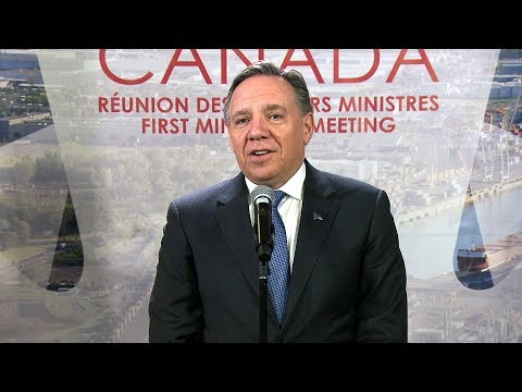 Quebec Premier Legault takes questions at first minister's meeting