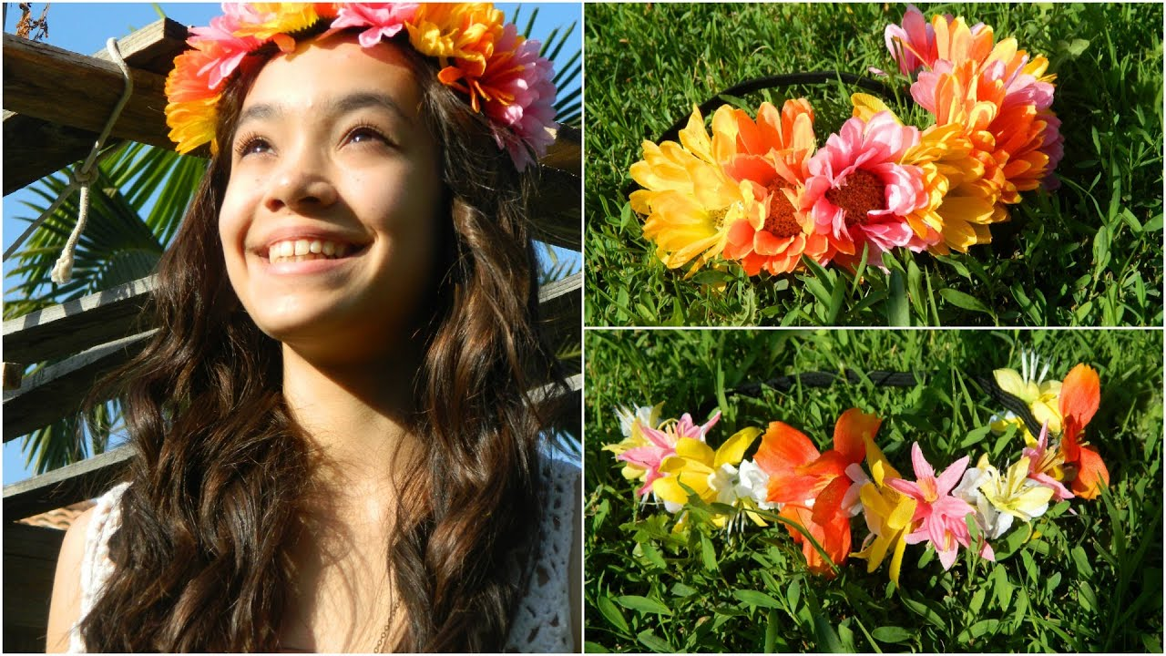 Diy hawaiian colorful flower headband youtube izmirmasajfo