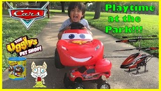 Disney Cars Lightning McQueen Power Wheels Playtime at the park Surprise Egg Toys Ryan ToysReview