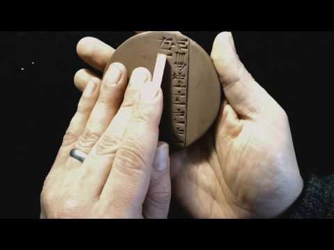 """Making an Old Babylonian """"lentil"""" tablet"""